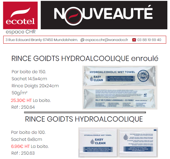ECOTEL : RINCE DOIGTS HYDRO-ALCOOLIQUE